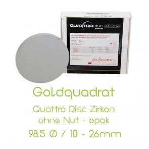 Goldquadrat Quattro Disc Zirkon ohne Nut - opak