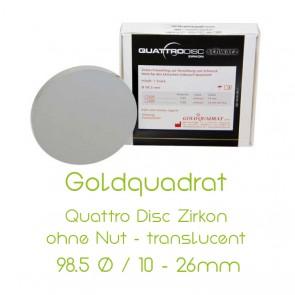 Goldquadrat Quattro Disc Zirkon ohne Nut